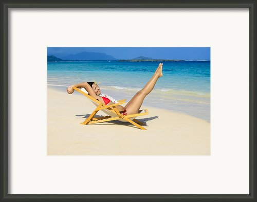 Beach Stretching Framed Print By Tomas Del Amo