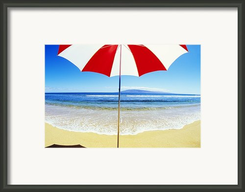 Beach Umbrella Framed Print By Carl Shaneff - Printscapes