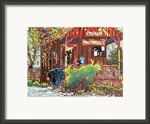Bear Post Framed Print By Nadi Spencer