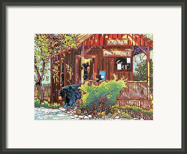 Bear Post Framed Print By Nadi Spencer