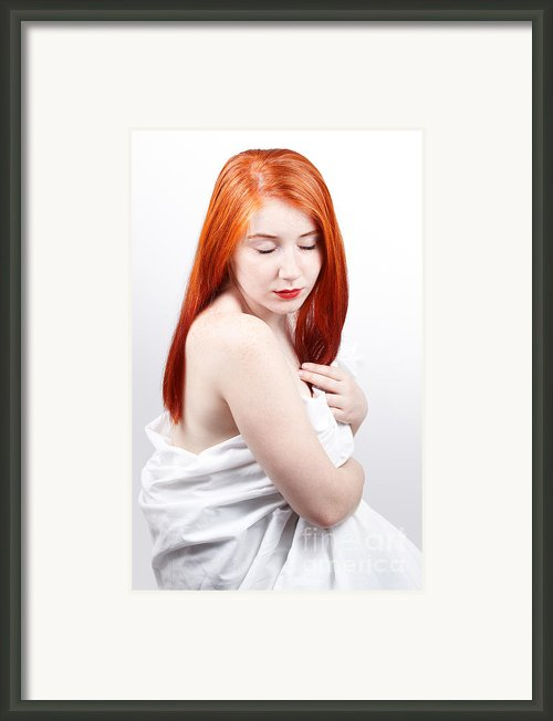 Beautiful Redhead Studio Shot Framed Print By Gabriela Insuratelu