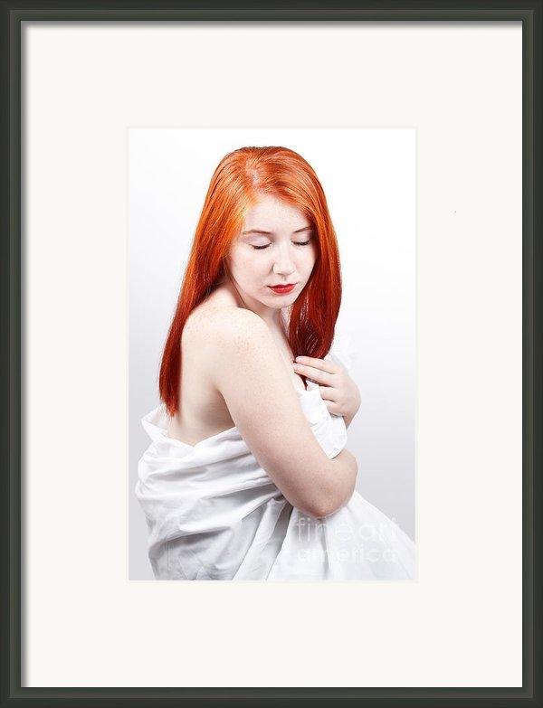 Beautiful Redhead Studio Shot Framed Print By Gabriela Insuratelu