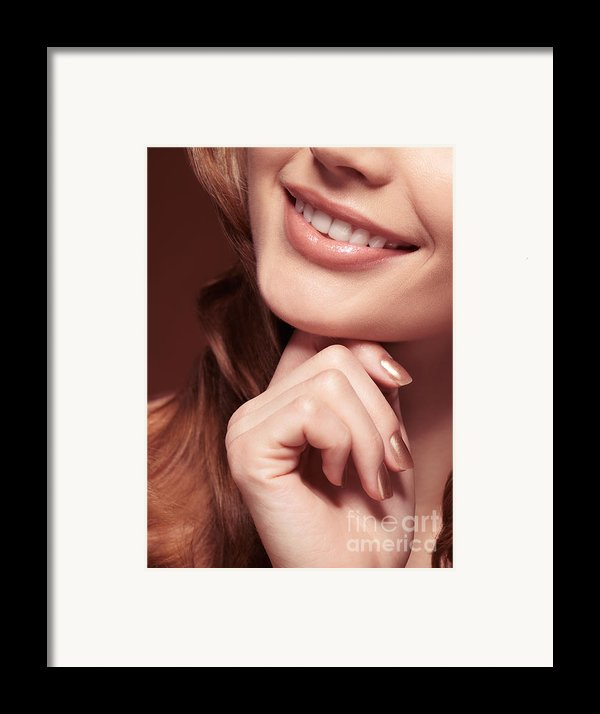 Beautiful Young Smiling Woman Mouth Framed Print By Oleksiy Maksymenko