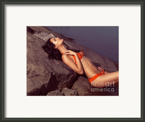 Beautiful Young Woman In Orange Bikini Framed Print By Oleksiy Maksymenko