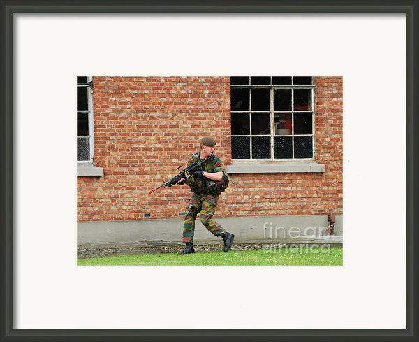 Belgian Infantrists Under Attack Framed Print By Luc De Jaeger