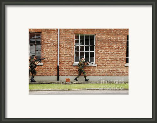 Belgian Soldiers On Patrol Framed Print By Luc De Jaeger