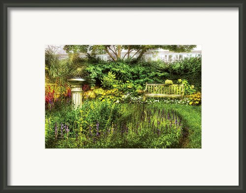Bench - Garden Pleasure Framed Print By Mike Savad