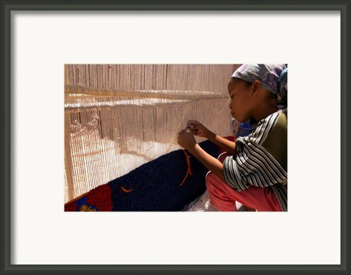 Berber Girl Working On Traditional Berber Rug Ait Benhaddou Southern Morocco Framed Print By Ralph Ledergerber