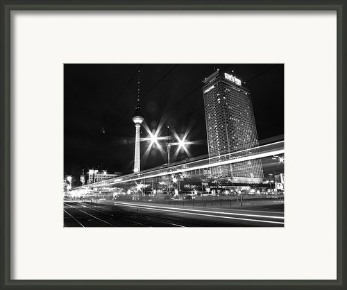Berlin Alexanderplatz At Night Framed Print By Bernd Schunack