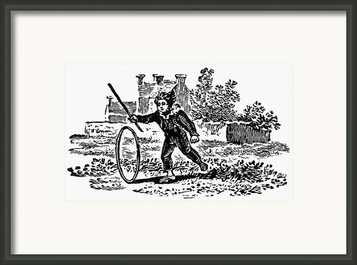 Bewick: Boy With Hoop Framed Print By Granger