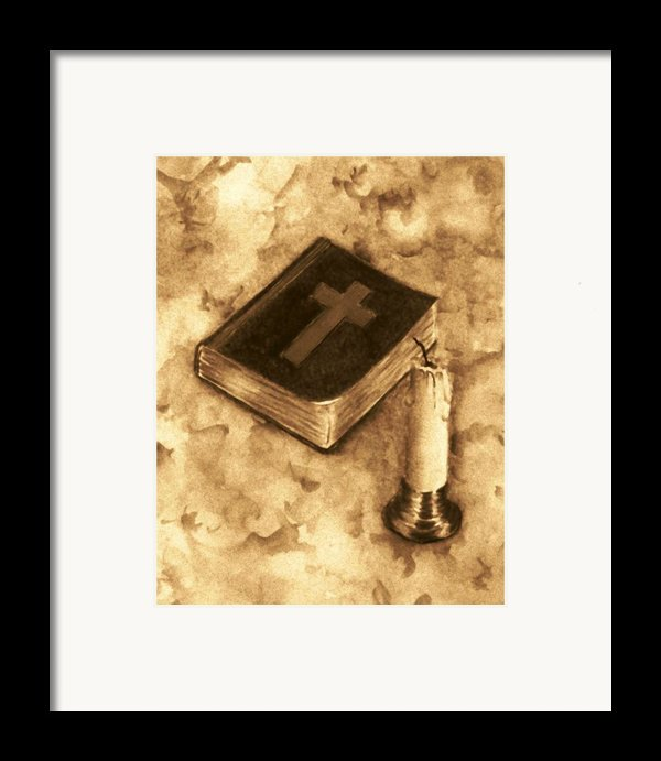 Bible And Candle Framed Print By Michael Vigliotti