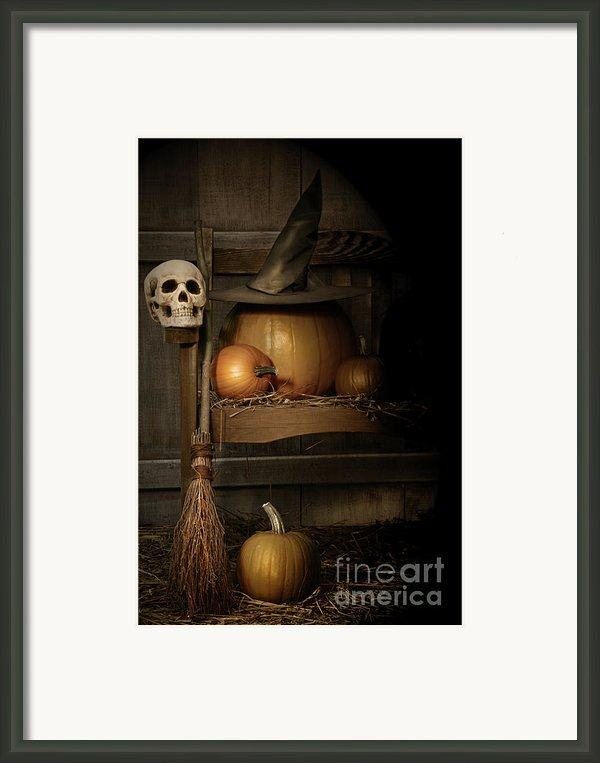 Big Pumpkin With Black Witch Hat And Broom Framed Print By Sandra Cunningham