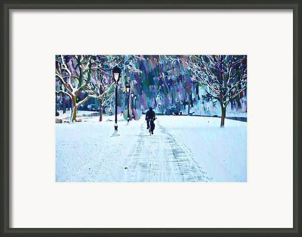 Bike Riding In The Snow Framed Print By Bill Cannon