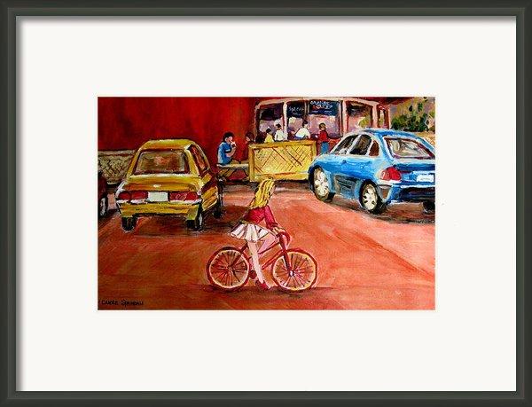 Biking To The Orange Julep Framed Print By Carole Spandau