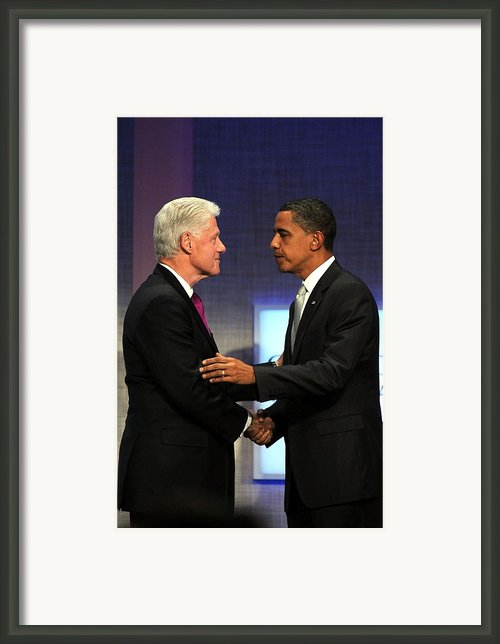 Bill Clinton, Barack Obama At A Public Framed Print By Everett
