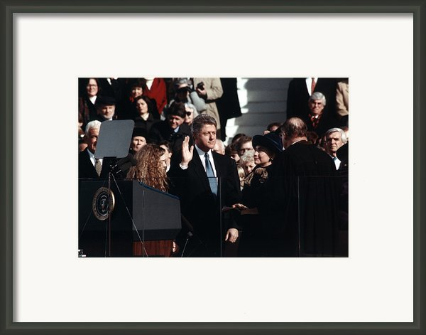 Bill Clinton Center, Taking The Oath Framed Print By Everett