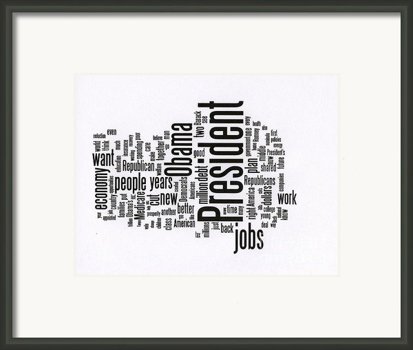 Bill Clinton Nominating Wordcloud Framed Print By David Bearden