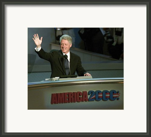 Bill Clinton, Touched By Emotion Framed Print By Everett