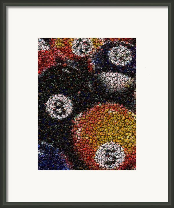 Billiard Ball Bottle Cap Mosaic Framed Print By Paul Van Scott