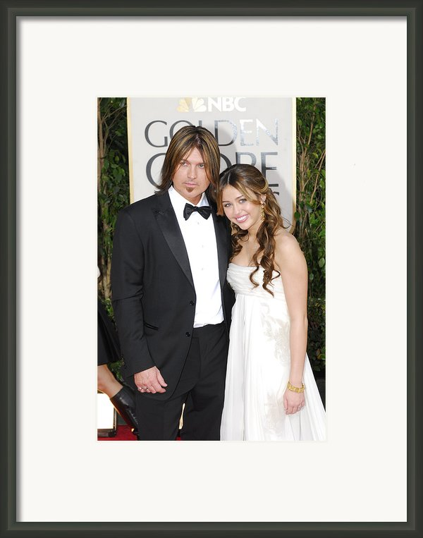 Billy Ray Cyrus, Miley Cyrus Wearing Framed Print By Everett