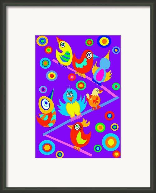 Birds On Wire Framed Print By Lynnda Rakos