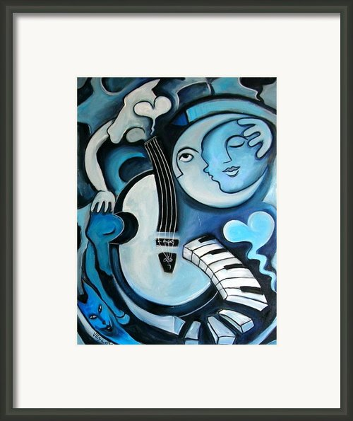Black And Bleu Framed Print By Valerie Vescovi