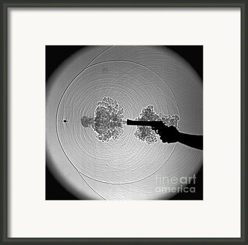 Black And White Gun Firing Shadowgram Framed Print By Gary S Settles And Photo Researchers
