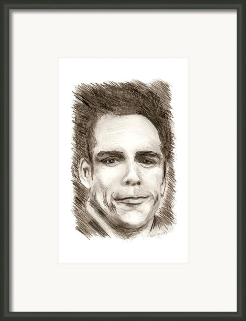 Black And White Pencil Portrait Framed Print By Mario  Perez