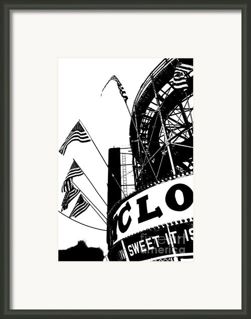 Black And White Roller Coaster Cyclone Framed Print By Artyzen Studios