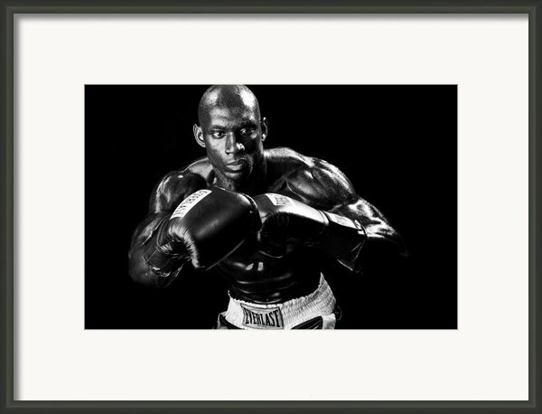 Black Boxer In Black And White 07 Framed Print By Val Black Russian Tourchin