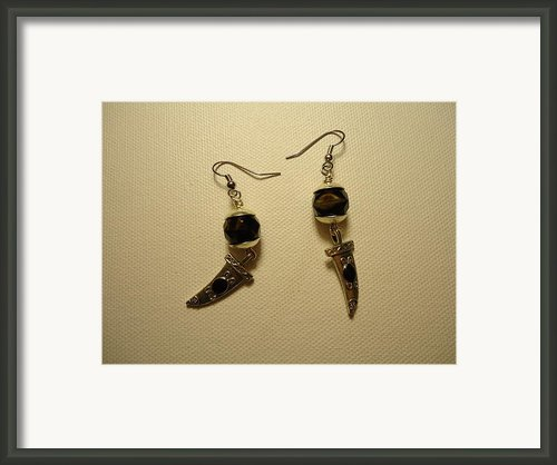 Black Dagger Earrings Framed Print By Jenna Green
