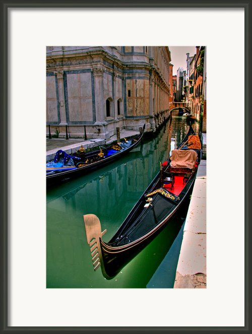 Black Gondola Framed Print By Peter Tellone