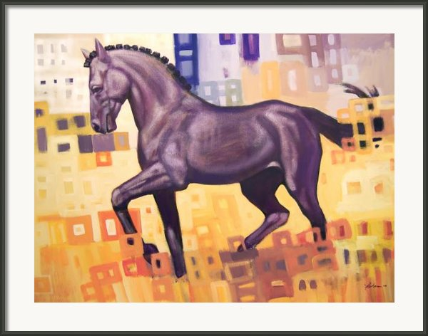 Black Horse Framed Print By Farhan Abouassali