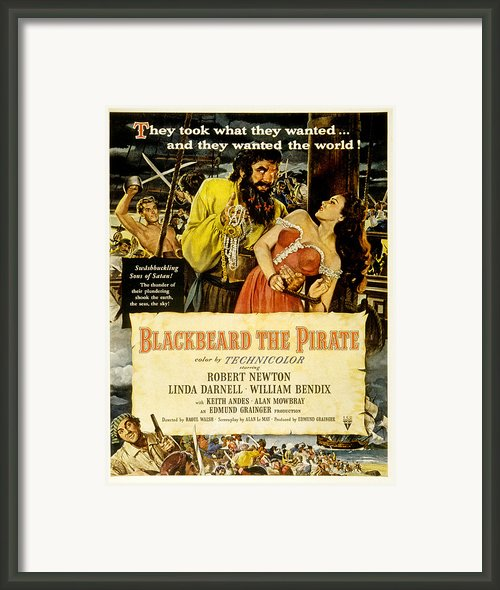 Blackbeard The Pirate, Poster Art Framed Print By Everett