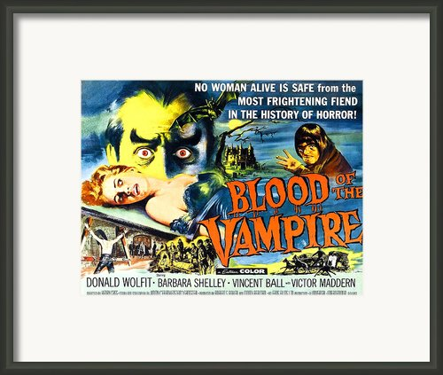 Blood Of The Vampire, Girl On Table Framed Print By Everett