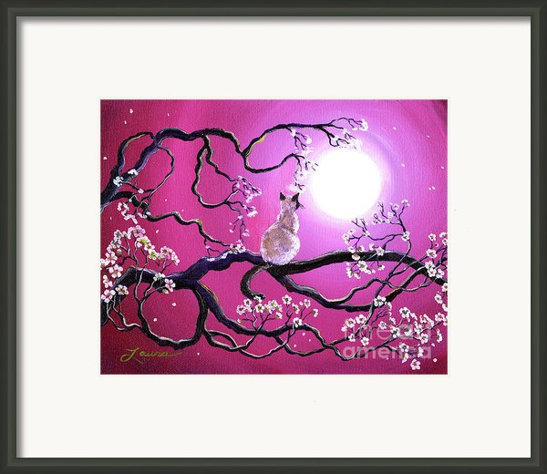 Blossoms In Fuchsia Moonlight Framed Print By Laura Iverson