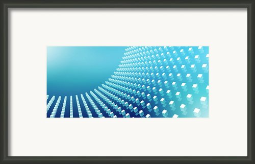 Blue Abstract Cubes In A Curve Framed Print By Ralf Hiemisch