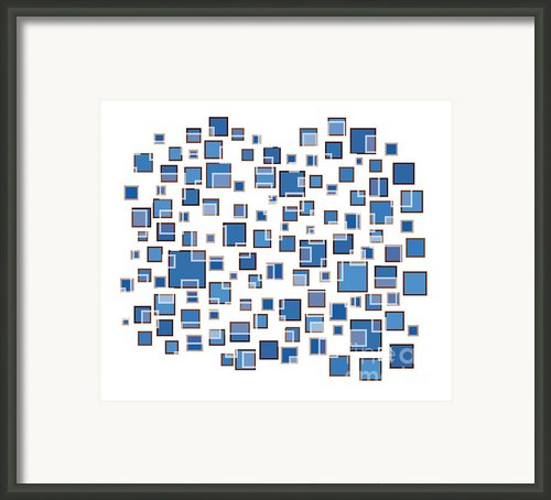 Blue Abstract Rectangles Framed Print By Frank Tschakert