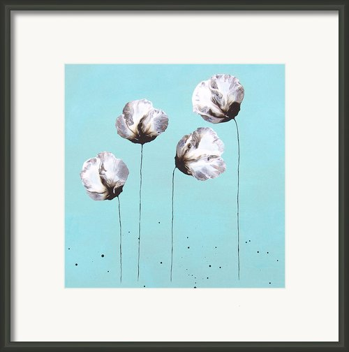 Blue And Brown Flower Painting Felicity Framed Print By Catherine Jeltes