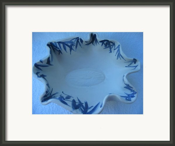 Blue Bamboo Bowl Framed Print By Julia Van Dine