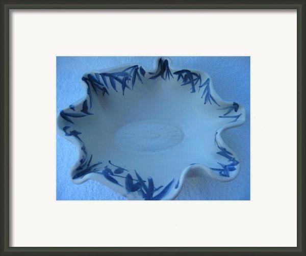 Blue Bamboo Bowl Framed Print By Julia Van Dine