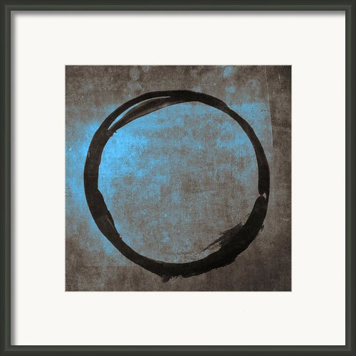 Blue Brown Enso Framed Print By Julie Niemela
