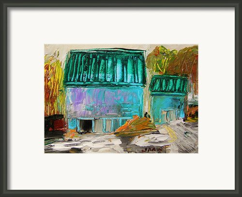 Blue Buildings Together-musing Framed Print By John  Williams