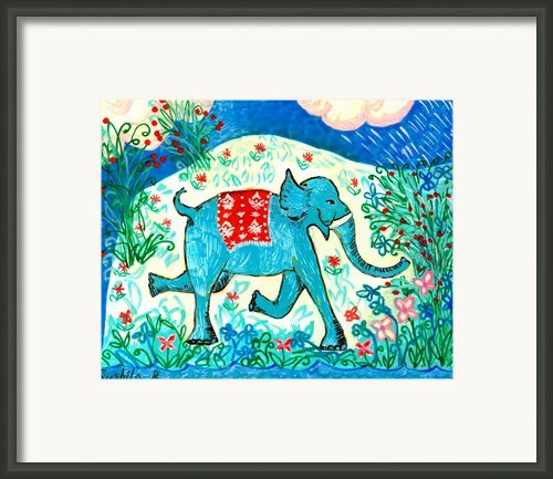 Blue Elephant Facing Right Framed Print By Sushila Burgess