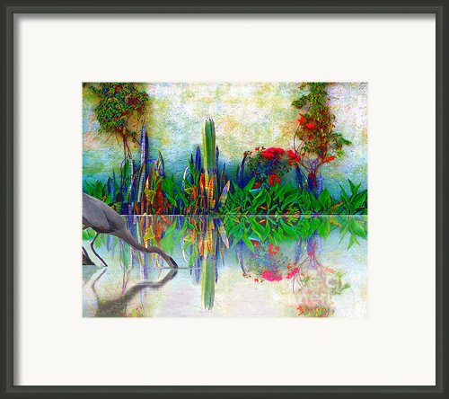 Blue Heron In My Mexican Garden Framed Print By John  Kolenberg