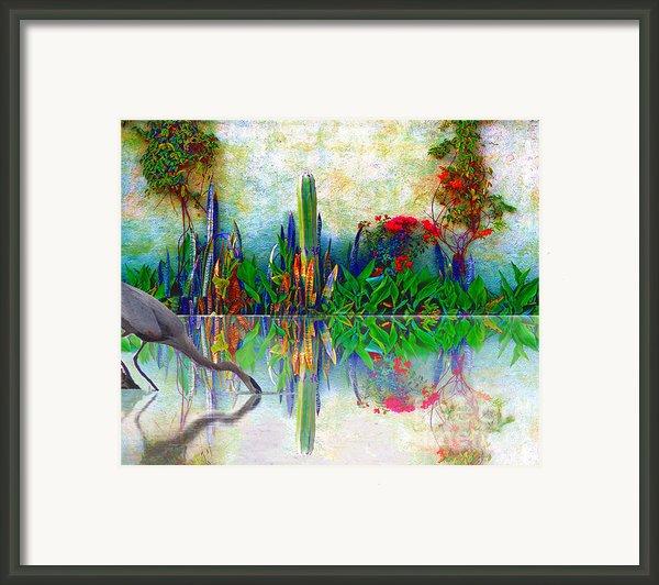 Blue Heron In My Mexican Garden Framed Print By John  Kolenberg