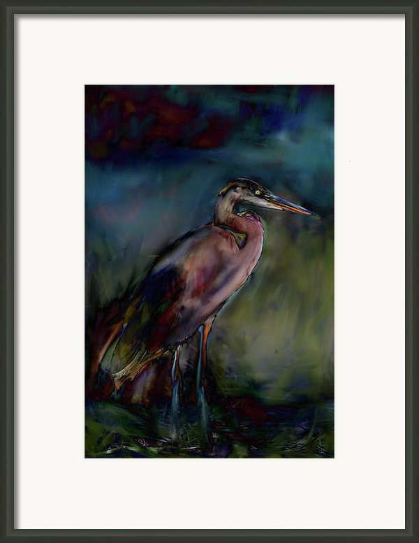 Blue Heron Painting Ii Framed Print By Don  Wright
