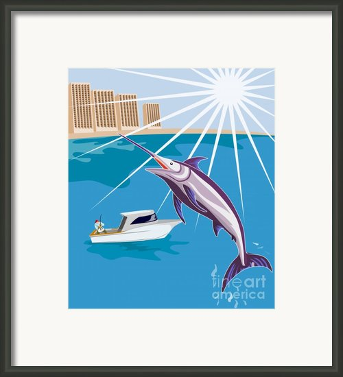 Blue Marlin Jumping Framed Print By Aloysius Patrimonio