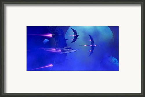 Blue Planet And Moons Framed Print By Corey Ford