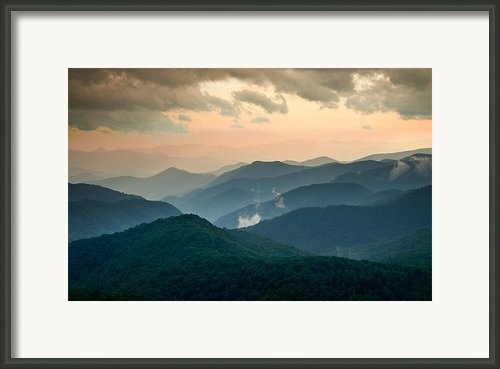 Blue Ridge Parkway Nc - Evening Glow Framed Print By Dave Allen
